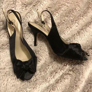 Talbot's satin black peep toe heels size 7
